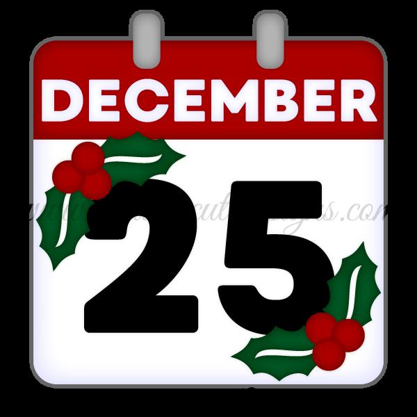December 25th Calendar Page