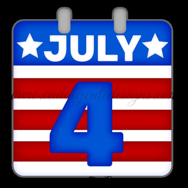 July 4th Calendar Page