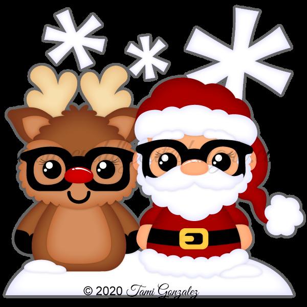Nerdies Santa & Reindeer