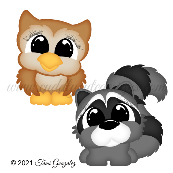 Pudgies - Owl & Raccoon