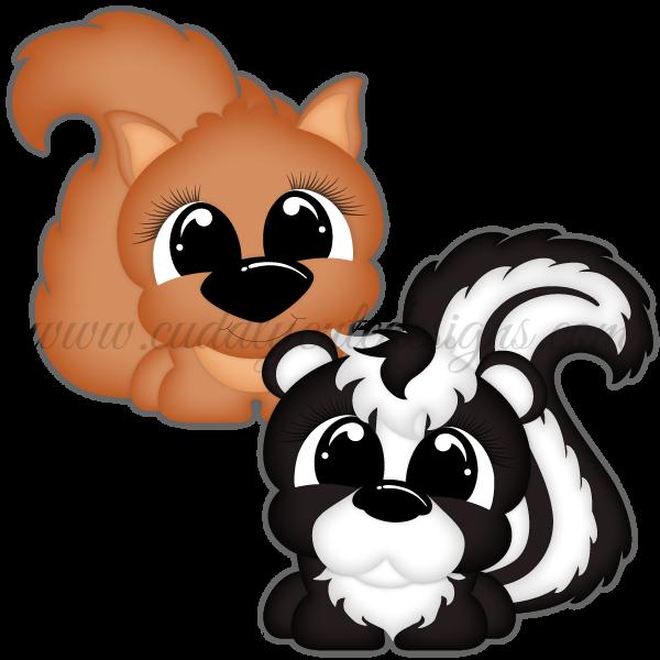 Pudgies - Squirrel & Skunk