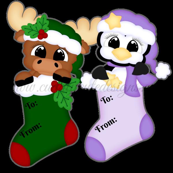 Stocking Tags - Moose & Penguin